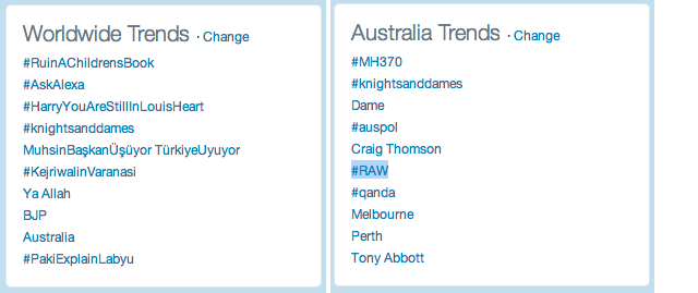 Knights and Dames twitter trends 25 March 2013