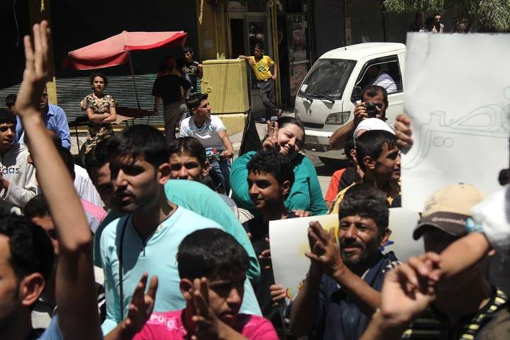 Blogger and activist Marcell Shehwaro at a protest in Syria. Image courtesy Marcell Shehwaro