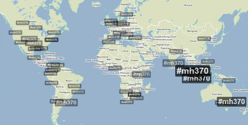 Trendsmap showing global Twitter discussion on MH370
