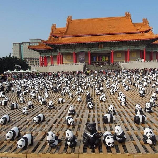 The exhibition of 1600 pandas and 200 Formosan black bears. Photo by figarotwo. CC: NC.