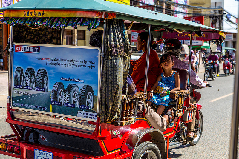 Cambodia's tuktuk, a three-wheeled public vehicle