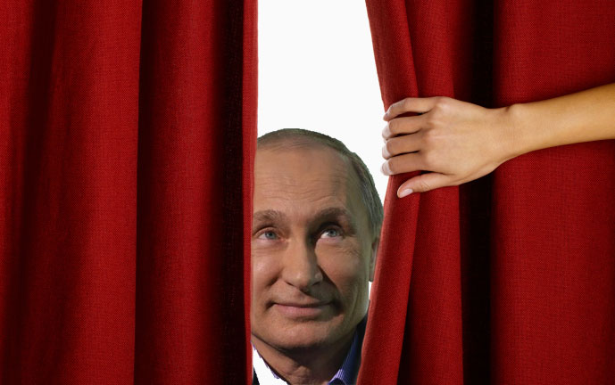 Pulling back the curtain on Putin's propaganda machine. Images mixed by author.