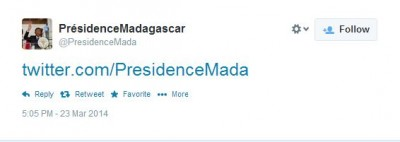First tweet by president of Madagascar