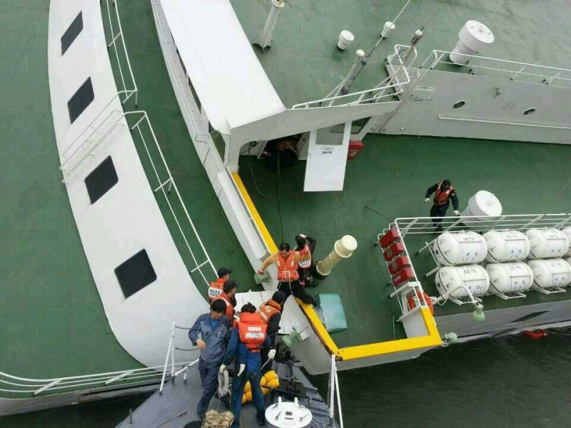 Image of the rescue operation, Image shared by Korean Coast Guard