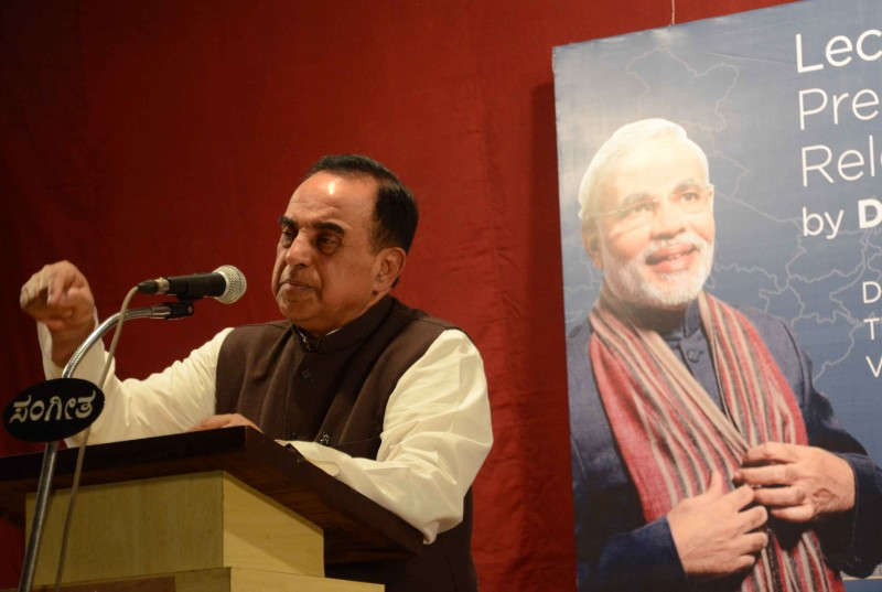 Subramanian Swamy speaks in Mangalore, India on Dec. 17, 2013.