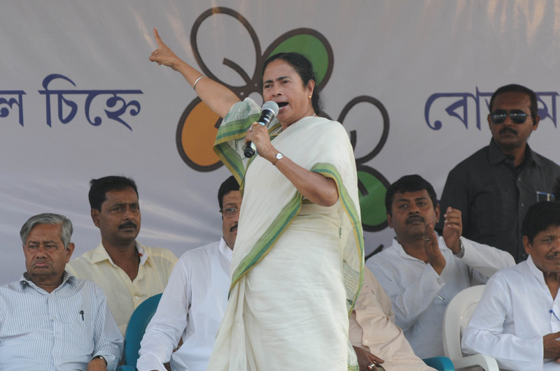 Chief Minister of West Bengal Mamata Banerjee campaigns for General Elections at South Tripura. Image by Reporter #24728 Copyright Demotix (1/4/2014)