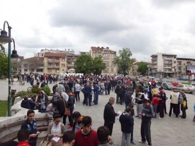 Sticker exchange in Skopje, Macedonia on April 27, 2014.