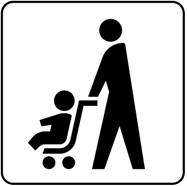 The image published by Ministry of Land, Infrastructure and Transport  symbolizing the idea that parents carrying baby stroller can keep it unfolded when getting on the train s or buses.