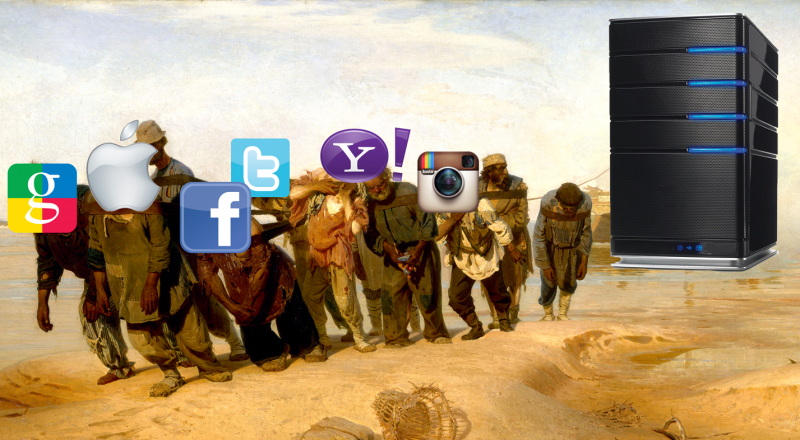 "What it might look like when global social network and search giants have to haul their servers into Russia. Based on Ilya Repin's seminal ""Volga Boatmen."" Images remixed by Andrey Tselikov."