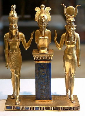 From right to left: Isis, her husband Osiris, and their son Horus on wikimedia CC- Share Alike 1.0