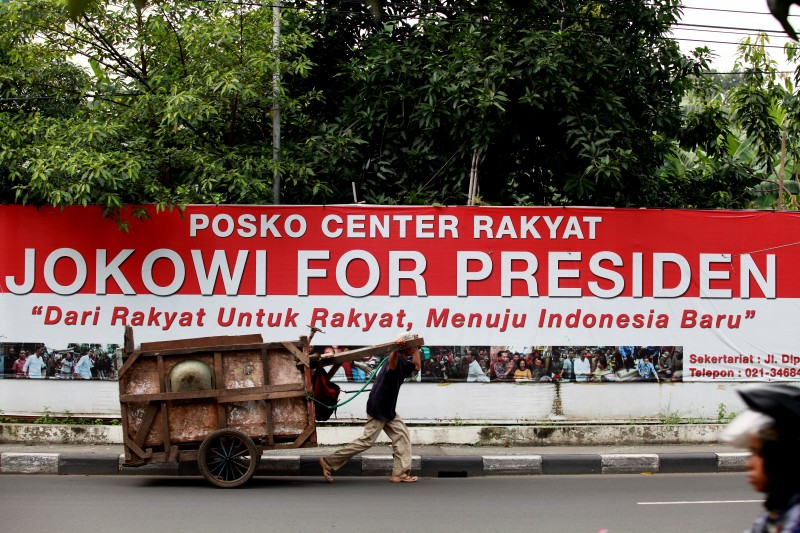 A banner of Jokowi for president in central Jakarta. Photo by Herianus, Copyright @Demotix (3/15/2014)