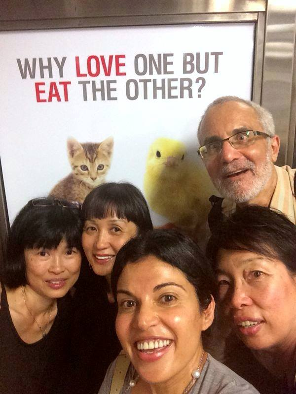 Selfie photo of vegetarians supporting the campaign.
