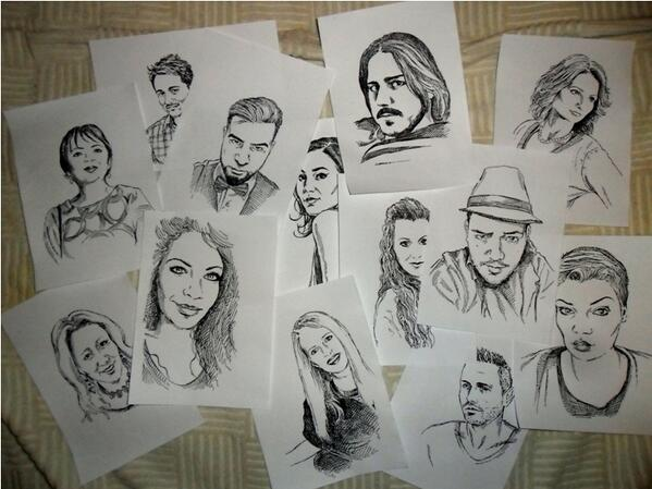 A collection of artist Radoje Rakočević's Twitter avatar portraits. Image by Radivoje Rakočević, used with permission.