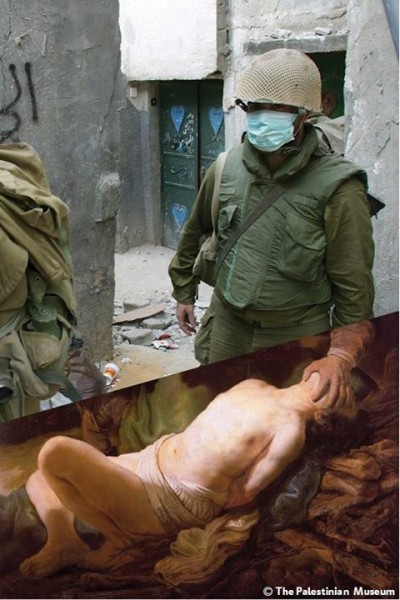 Abraham's Sacrifice (c. 1635) Rembrandt Harmenszoon van Rijn photo: Israeli soldiers overwhelmed by the smell of dead bodies in Jenin refugee camp, West Bank. 16 Apr. 2002 by Alexandra Boulat