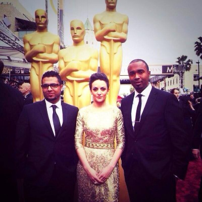 Ameen Alghabri, Sara Ishaq and AbduRahman Hussain at the Oscars