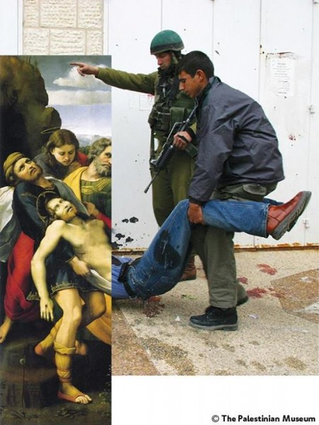 "The Deposition (c. 1507) Raphaello Sanzio da Urbino ""In that day there will be great mourning in Jerusalem."" Zechariah 12:11 photo: Israeli soldiers kill a Palestinian and detain others, downtown Ramallah.  31 Mar. 2002 by Alexandra Boulat"