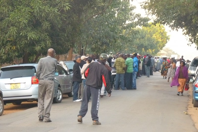 In some polling centres in Malawi, lines were so long people couldn't see ahead. Photo by Steve Sharra. Used with permission.