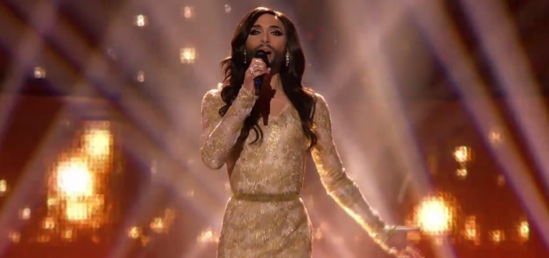 "Conchita Wurst, performing ""Rise Like a Phoenix,"" May 10, 2014, YouTube."