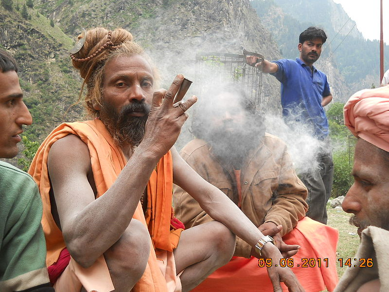 aghori smoking cannabis