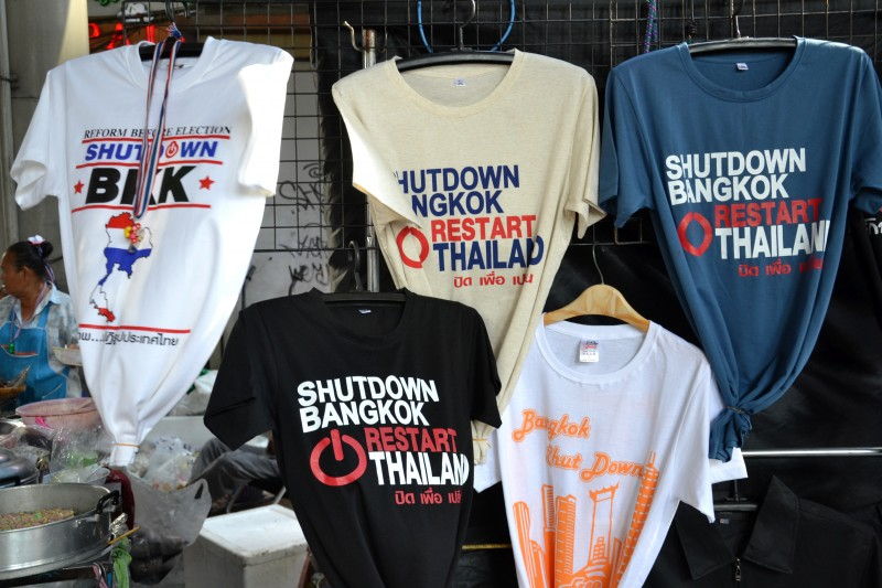 Protesters' rally sites include many stalls selling shirts and insignia to support the protest. Photo by terry1, Copyright @Demotix (1/18/2014)