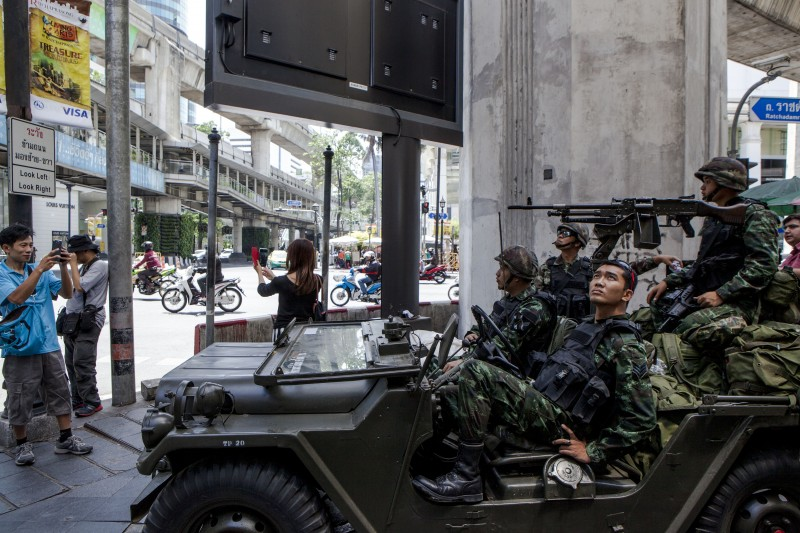 The Royal Thai Army declares martial law across the crisis-gripped kingdom and tells the nation not to panic as the announcement is meant to restore order. Photo by Vinai Dithajohn, Copyright @Demotix (5/20/2014)