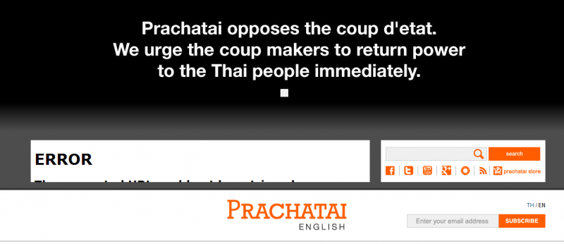 Prachatai, an independent media site, displays a banner opposing the coup