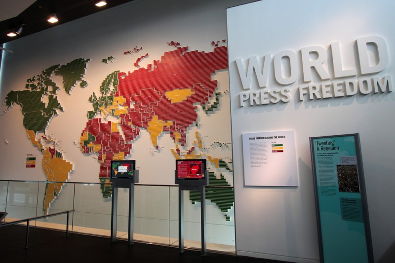 World Press Freedom map, at the Newseum in Washington, DC. Photo by Mr.TinDC, used under a CC license.