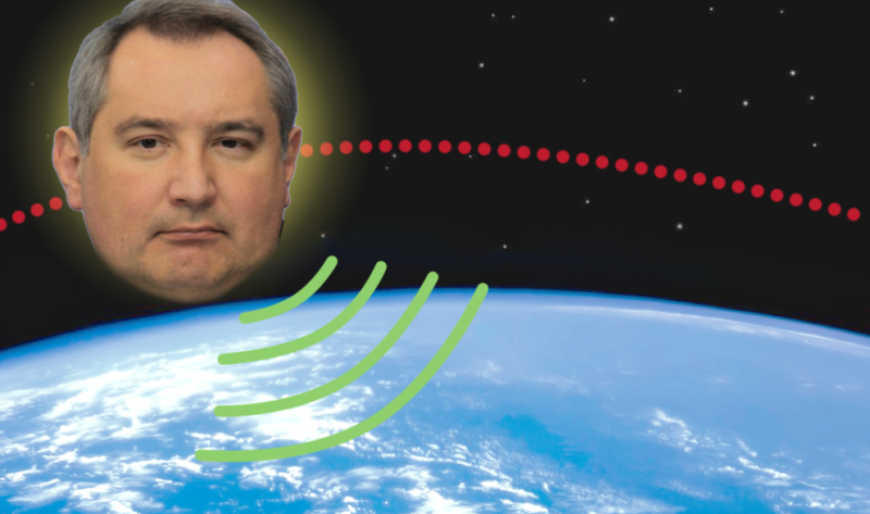 Dmitry Rogozin is orbiting the Earth in lieu of a GPS satellite. An artist's depiction. Images remixed by Andrey Tselikov.