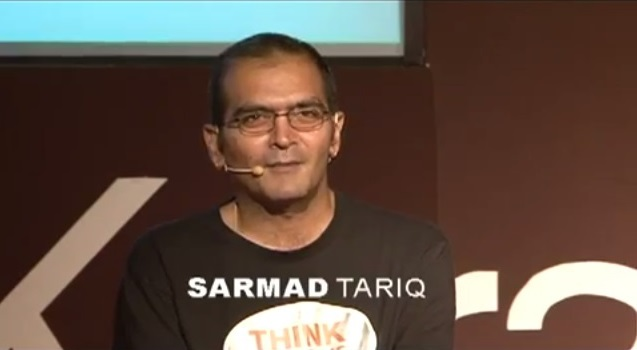 Screenshot of Sarmad Tariq during his speech at TEDxKarachi 2011