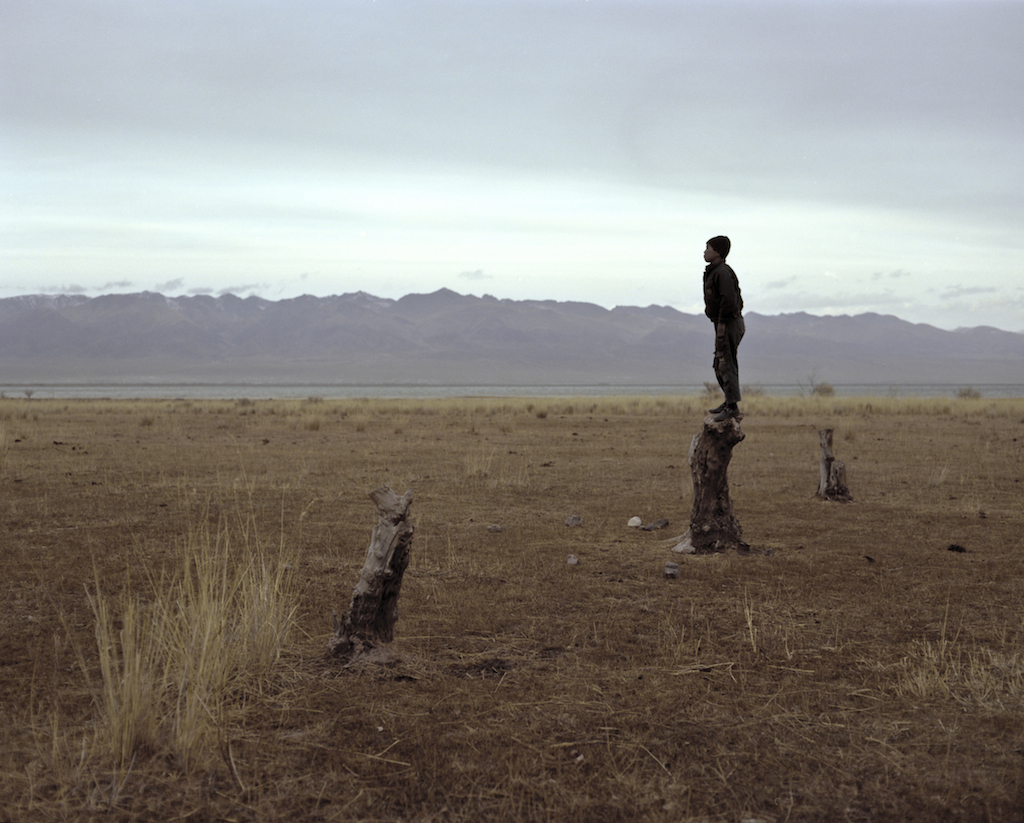 A shepherd boy watches a herd of cows as he stands on a tree stump near Lake Issyk Kul. Photo by Fyodor Savintsev / Salt Images, 2013.