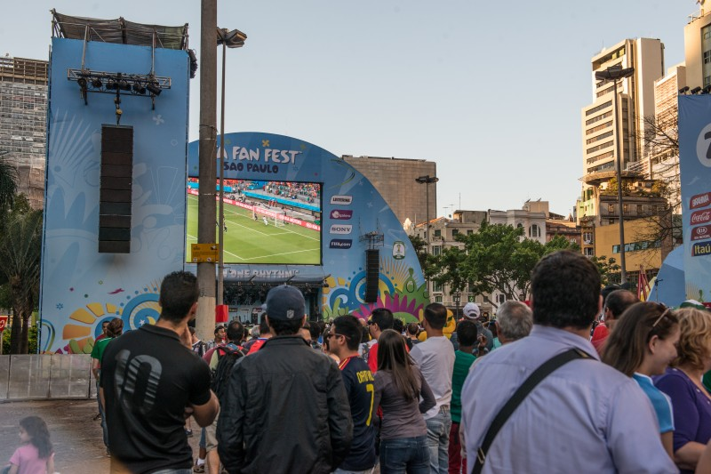 Fans watch group matches at FIFA Fan Fest in Sao Paulo on the second day of the 2014 FIFA World Cup. Photo by  Julia Reinhart. Copyright Demotix.