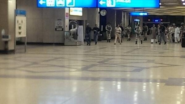 Photo tweeted by Twitter user @ahsannagi #KarachiAirport. Pic by a friend stuck there - M. Qasim. #Rangers can be seen.