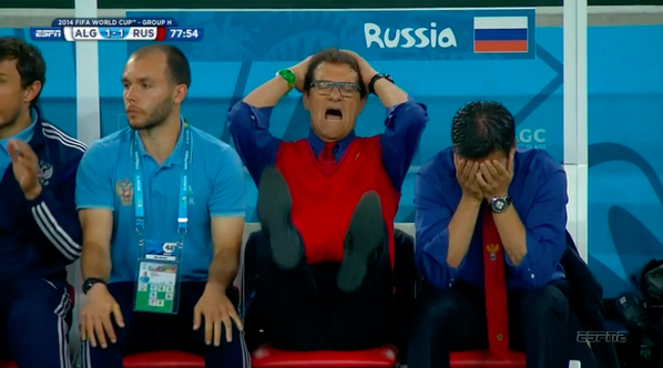 Russian team manager, the exorbitantly paid Fabio Capello, reacts to the Algerian tie.