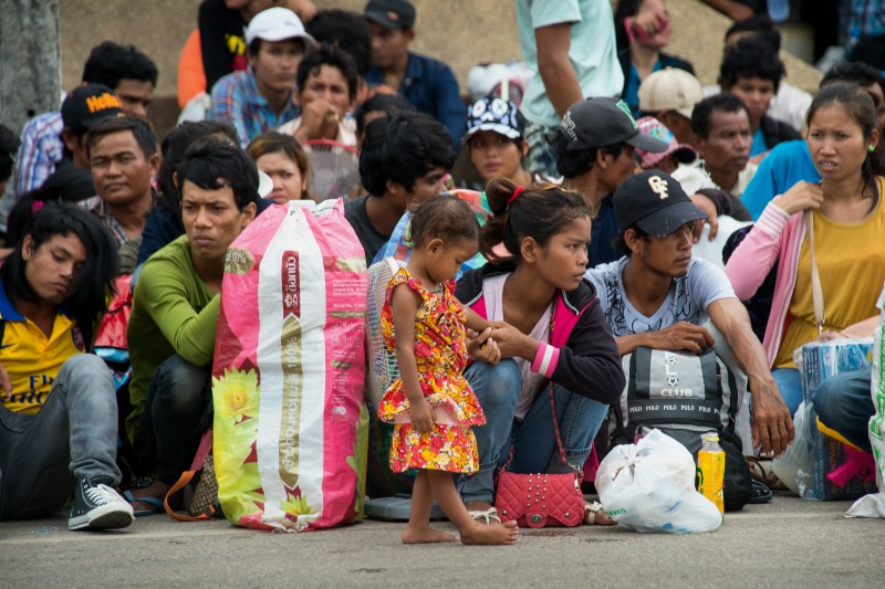 Cambodian migrant workers who fled Thailand. Photo by Lee Craker, Copyright @Demotix (6/17/2014)