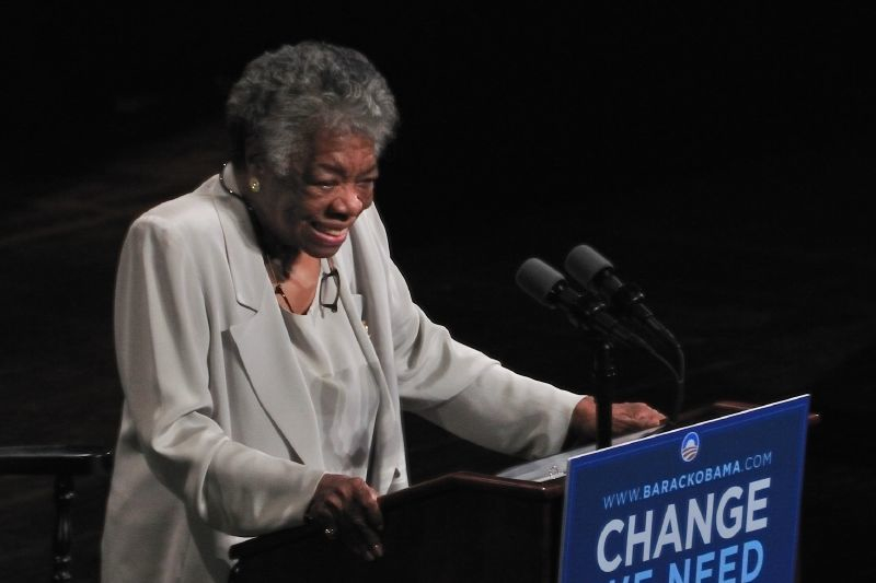 Dr. Maya Angelou, speaking at The Carolina Theater, Greensboro, North Carolina, September, 2008. Image by Talbot Troy, used under a CC license.