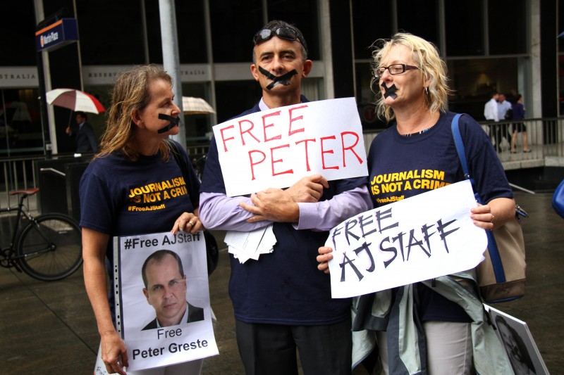 Protest in support of Australian Al Jazeera Journalist Peter Greste