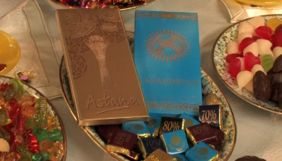 "Rakhat's patriotic brands ""Astana"" and ""Kazakhstan"". (Screenshot taken from a Youtube video uploaded by user Maxim Bykov)."