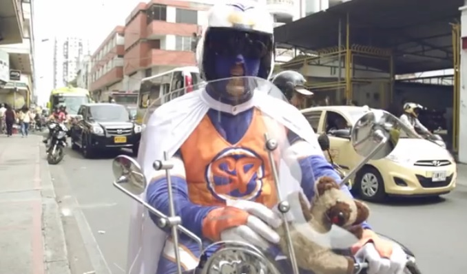 Super Pan on his Vespa. Screenshot taken from YouTube.