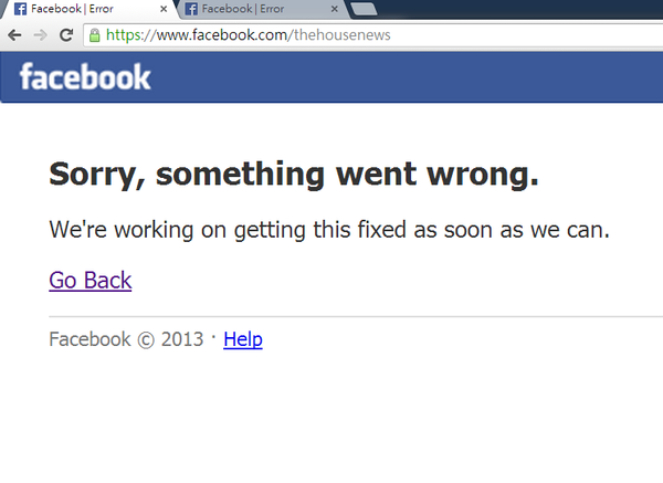 Facebook is down. Image from the House News. Non-commercial use.