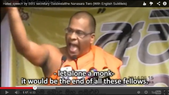 Screenshot of the YouTube video of the the speech of BBS Secretary Galagodaaththe Gnanasara Thero
