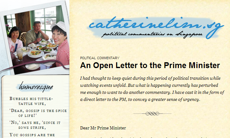 From the website of Catherine Lim