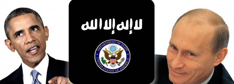 Obama and Putin beside the ISIS flag and US State Department seal. Images mixed by author.