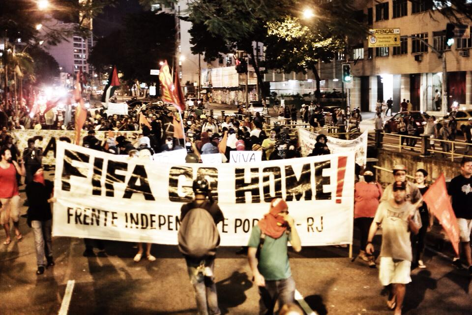 Protests throughout the country during the first World Cup day asked FIFA to go home.