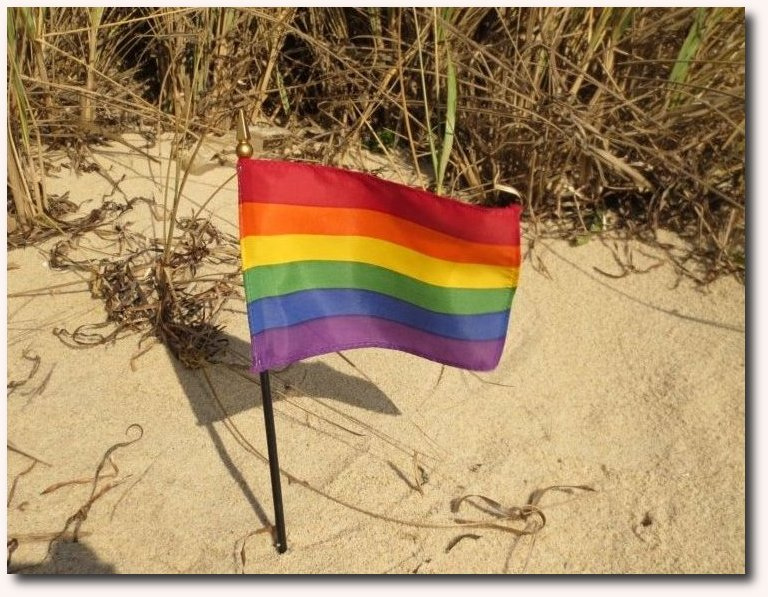 Rainbow Flag in sand; photo by Capes Treasures, used under a CC license.