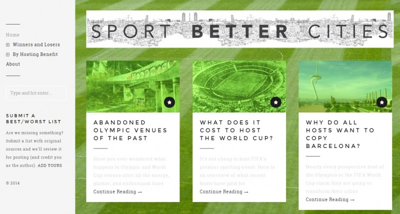 Screenshot from the Sport Better Cities website.