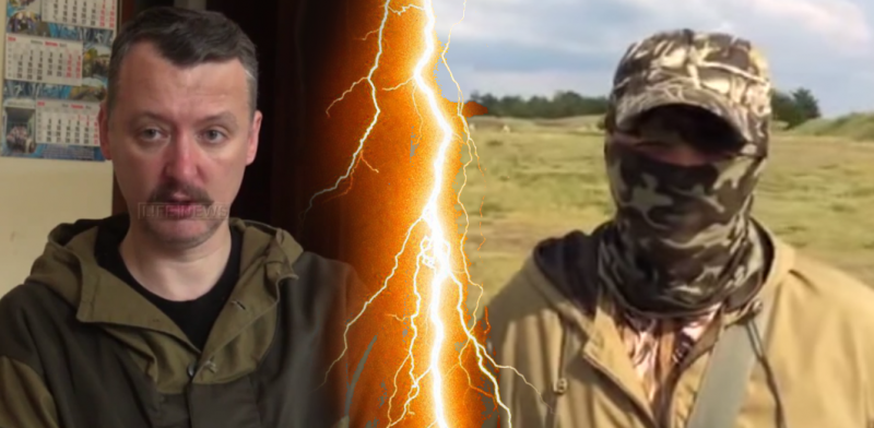 Donetsk People's Republic commander Igor Strelkov (Girkin) on the left. Donbass battalion volunteer commander Semyon Semynchenko on the right.