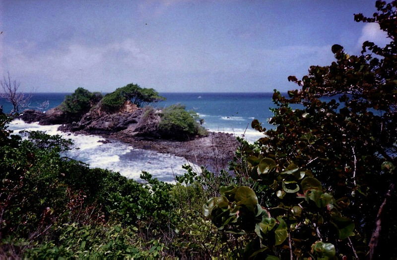 Scanned film photo of the coastal area surrounding the Toco lighthouse on Trinidad's east coast. Image by Taran Rampersad, used under a CC license.
