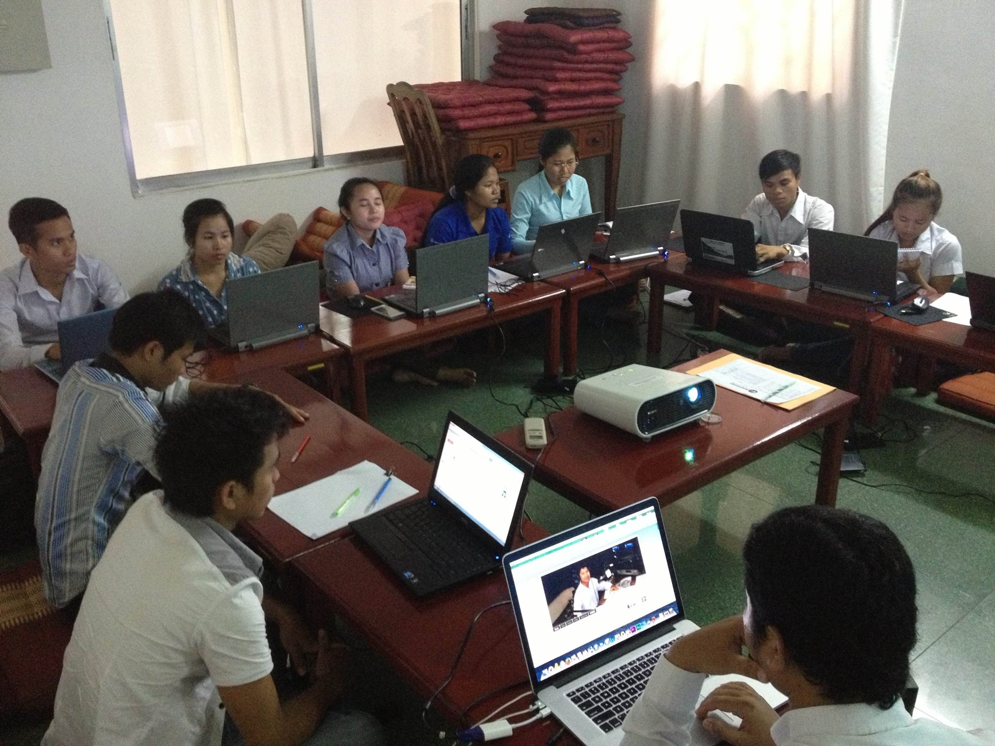 "Indigenous youths coming from difference provinces attended the training on ""Video Journalism"" organized by CCHR's at Sithi Hub in June 2014. (photo provided by CCHR)"