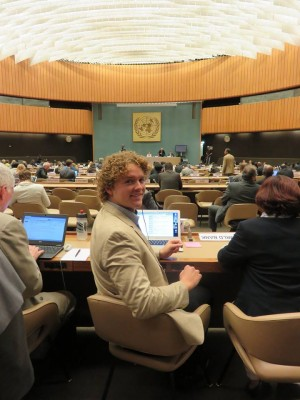 Sam Johnson at the PrepCommittee meeting in Geneva for the World Conference on Disaster Risk Reduction