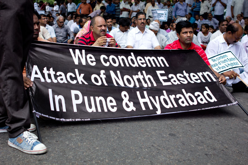 A protest in Delhi against attacks on North East Indians in several places of India.  Image by Rajesh Tandon. Copyright Demotix (18/8/2012)